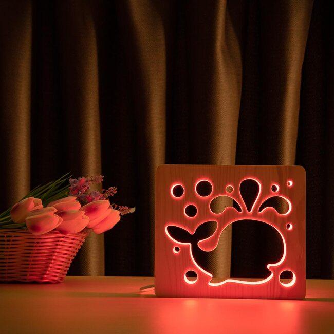 """Светильник ночник ArtEco Light из дерева LED """"Кит"""" с пультом и регулировкой цвета, RGB"""