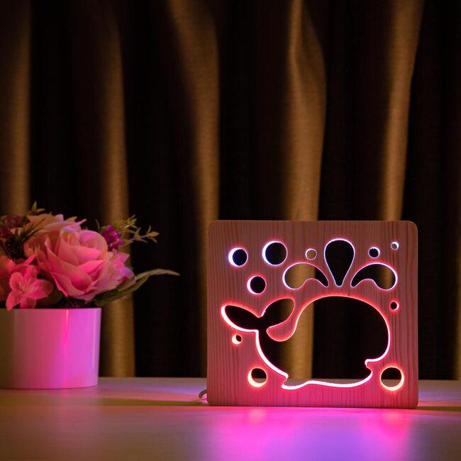 """Светильник ночник ArtEco Light из дерева LED """"Кит"""" с пультом и регулировкой цвета, двойной RGB"""