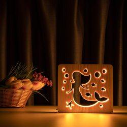 """Светильник ночник ArtEco Light из дерева LED """"Русалочка"""" с пультом и регулировкой света, цвет теплый белый"""