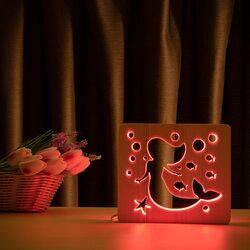 """Светильник ночник ArtEco Light из дерева LED """"Русалочка"""" с пультом и регулировкой цвета, RGB"""