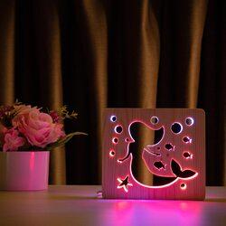 """Светильник ночник ArtEco Light из дерева LED """"Русалочка"""" с пультом и регулировкой цвета, двойной RGB"""