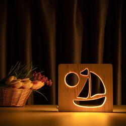 """Светильник ночник ArtEco Light из дерева LED """"Кораблик"""" с пультом и регулировкой света, цвет теплый белый"""