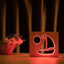 """Светильник ночник ArtEco Light из дерева LED """"Кораблик"""" с пультом и регулировкой цвета, RGB"""