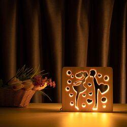 """Светильник ночник ArtEco Light из дерева LED """"Влюбленная пара"""" с пультом и регулировкой света, цвет теплый белый"""