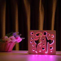 """Светильник ночник ArtEco Light из дерева LED """"Влюбленная пара"""" с пультом и регулировкой цвета, RGB"""