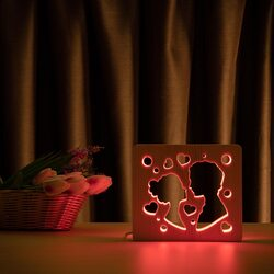 """Светильник ночник ArtEco Light из дерева LED """"Поцелуй"""" с пультом и регулировкой цвета, RGB"""