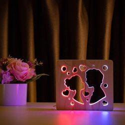 """Светильник ночник ArtEco Light из дерева LED """"Поцелуй"""" с пультом и регулировкой цвета, двойной RGB"""