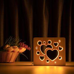 """Светильник ночник ArtEco Light из дерева LED """"Сердечки"""" с пультом и регулировкой света, цвет теплый белый"""