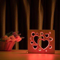 """Светильник ночник ArtEco Light из дерева LED """"Сердечки"""" с пультом и регулировкой цвета, RGB"""