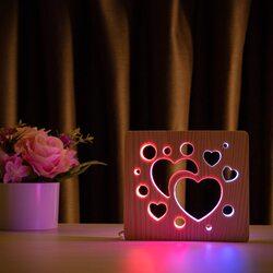 """Светильник ночник ArtEco Light из дерева LED """"Сердечки"""" с пультом и регулировкой цвета, двойной RGB"""