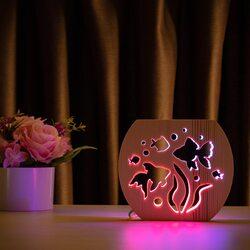 """Светильник ночник ArtEco Light из дерева LED """"Аквариум"""" с пультом и регулировкой цвета, двойной RGB"""