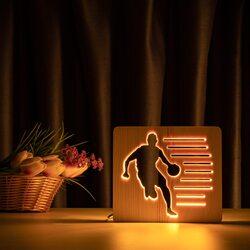 """Светильник ночник ArtEco Light из дерева LED """"Баскетболист с мячом"""" с пультом и регулировкой света, цвет теплый белый"""