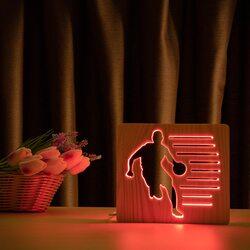 """Светильник ночник ArtEco Light из дерева LED """"Баскетболист с мячом"""" с пультом и регулировкой цвета, RGB"""