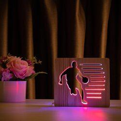 """Светильник ночник ArtEco Light из дерева LED """"Баскетболист с мячом"""" с пультом и регулировкой цвета, двойной RGB"""