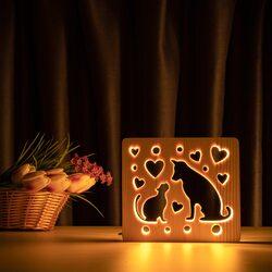 """Светильник ночник ArtEco Light из дерева LED """"Кот и пес"""" с пультом и регулировкой света, цвет теплый белый"""