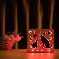 """Светильник ночник ArtEco Light из дерева LED """"Кот и пес"""" с пультом и регулировкой цвета, RGB"""