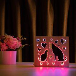 """Светильник ночник ArtEco Light из дерева LED """"Кот и пес"""" с пультом и регулировкой цвета, двойной RGB"""