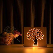 """Светильник ночник ArtEco Light из дерева LED """"Деревце"""" с пультом и регулировкой света, цвет теплый белый"""