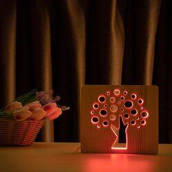 """Светильник ночник ArtEco Light из дерева LED """"Деревце"""" с пультом и регулировкой цвета, RGB"""